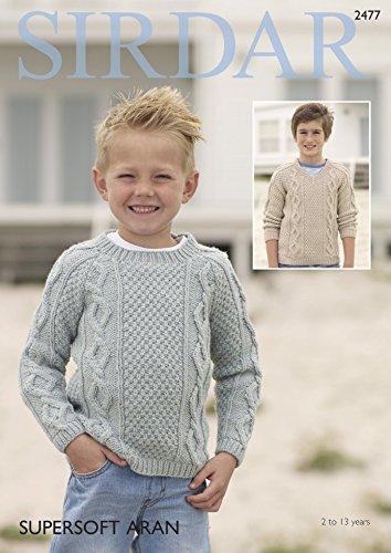 9131d2e0b80902 Sirdar Boys Sweaters Supersoft Knitting Pattern 2477 Aran  Amazon.co.uk   Kitchen   Home