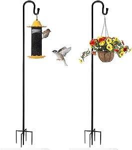 Homthumb Outdoor Shepherd Hooks,Bird Feeder Pole-47.24 Inch Adjustable Garden Shepherds Hook Heavy Duty with 5 Prong Base for Plant Hangers,LED Lights Flower Basket,and Weddings Decoration,2 Pack