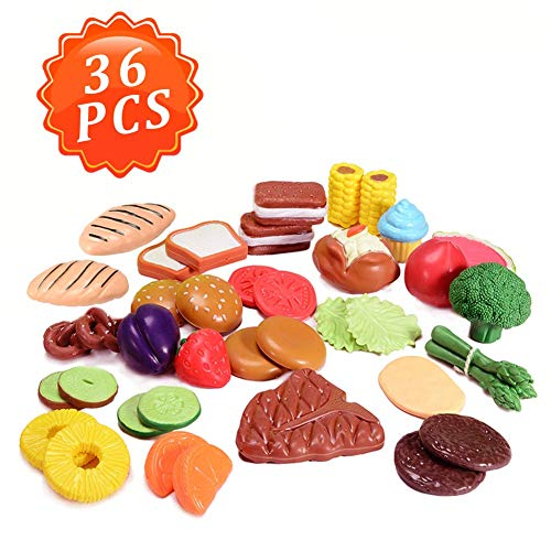 ThinkMax Pretend Play Food Sets for Kids, 36 Pcs Kitchen Toys Fun Realistic Fruits Vegetables Pretend Food Toy for Children Girls Boys