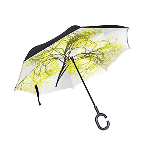 QYUESHANG Double Layer Inverted Tree Branches Aesthetic Tribe Log Yellow Art Umbrellas Reverse Folding Umbrella Windproof Uv Protection Big Straight Umbrella For Car Rain Outdoor With C-shaped Handle