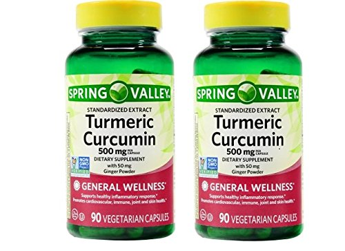 Glorious Spring (Spring Valley Turmeric Curcumin 500mg with 50mg Ginger Powder Twin Pack 180 Vegetarian Capsules)