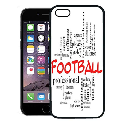 Semtomn Phone Case for iPhone Xs case,Football Word Cloud in Red Caps Great Terms Such As Yards Touchdown Season Quarterback Fans Games Draft,Rubber Border Protective Case,Black