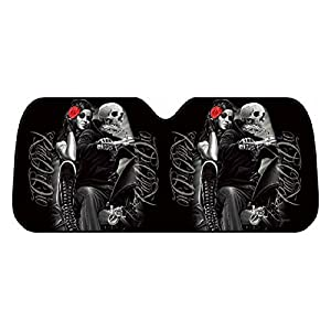 DGA Day of Dead Ride or Die Lovers Block UV Rays Reflective Material Car Sunshade Visor Front Windshield