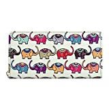 Kukoo Womens PU Leather Wallet Elephant Peacock Clutch Zipper Purse Credit Card Holder
