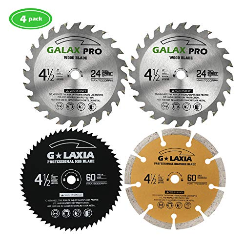 (Saw Blade Set, GALAX PRO Pack Of 4 Assorted 60T HSS Metal/24T TCT Wood/Diamond 4-1/2-Inch Circular Saw Blade with 3/8