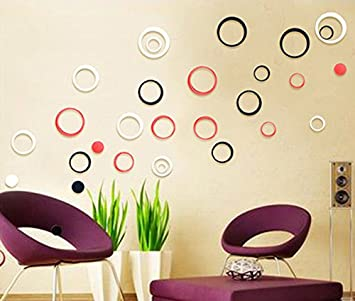 Buy WOW Acrylic 3D Bright Circle Black Red White Home and Office