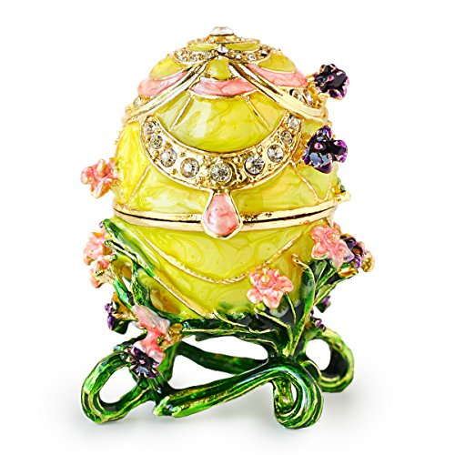 Apropos Hand-Painted Flowery Faberge Egg with Rich Enamel and Sparkling Rhinestones Jewelry Trinket Box