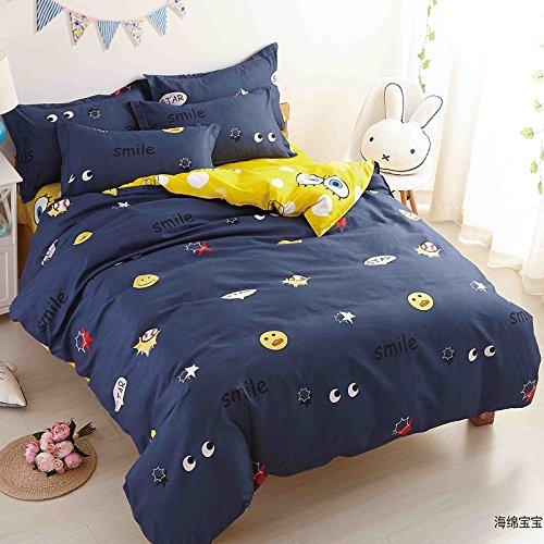 KFZ Children Bedding Duvet Cover SpongeBob Forest Dandelion Strawberry Design Flat Sheet Pillowcases No Comforter HDD Twin Full Queen King 4pcs/set Size (Sponge Bob, Blue, King, 86
