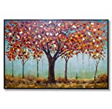 """In Liu Of Modern Oil Painting """"Before the Fall"""" (Red and Orange Oak Trees) Natural Artwork with Fine Acrylic Medium 