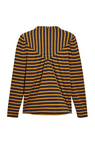 next Mujer Top Camiseta Manga Larga Cuello Alto A Rayas Azul Marino/ Amarillo