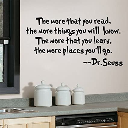 Dr Seuss Quote the More That You Read Wall Art Vinyl Decals Letters Love Kids Bedroom Wall Sayings
