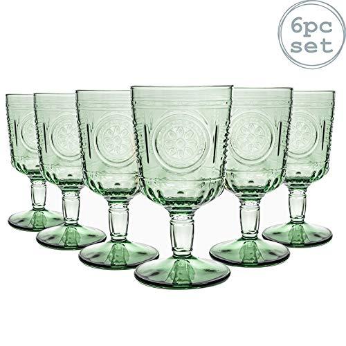 Bormioli Rocco Romantic - Juego de Copas para Vino - Diseno Italiano Tradicional - Verde - 320ml - Pack de 6