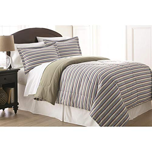 Awning Stripe Bedding - Shavel Home Products MFNCMKGAWNW Micro Flannel King Reversible Comforter with 2 King Shams, Awning Stripe