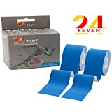 Kinesiology Tape 24/7 TAPE Therapeutic Taping for Knee, Ankle & More, Pain Relief, Injury Recovery, Muscle Support, Waterproof 2''x16.5' Uncut Roll + Including E-GUIDE and Free Folding Scissor (2NAVY)