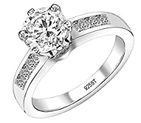 FANTOM Yes It's Sterling Solid 925 Sterling Silver Solitaire Round Cz Cubic Zirconia Engagement Ring 1.50 Carat Total Weight