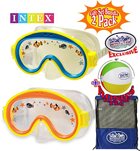 Aviator Swim Mask - Matty's Toy Stop Aquaflow Mini Aviator Swim Masks (Goggles) Blue/Yellow & Yellow/Orange Gift Set Bundle with Bonus 16
