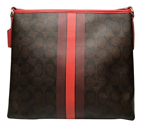 Signature Women's Stripe True In Bag F38402 Varsity Coach Style File Crossbody Brown Red fHqAxn