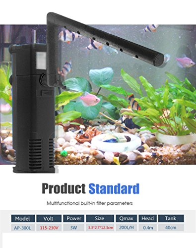 3 In 1 Building Internal Filter Turtle Aquarium 3W 115V-230V Water Plant Fish Tank Submersible Oxygen Pump 50/60Hz ()