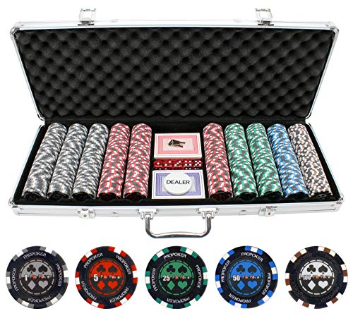 JP Commerce 500 Piece Pro Poker Clay Poker Set - Pro Poker Clay Poker