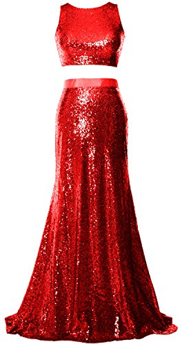 MACloth Women 2 Piece Prom Dress Crop Top Sequin Long Formal Party Evening Gown Rojo