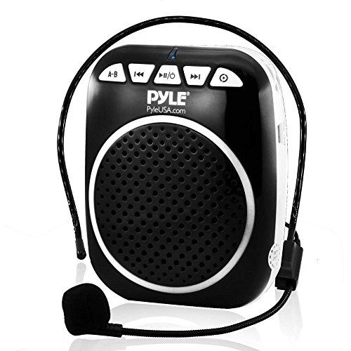 Abs Pa Speaker - Pyle Portable Voice Amplifier Speaker - Headset-Microphone, Mini Personal Portable Microphone Pa Speaker, Rechargeable Battery, Waistband - for Karaoke Teachers Costume Coach Tours USB MP3 - PWMA55