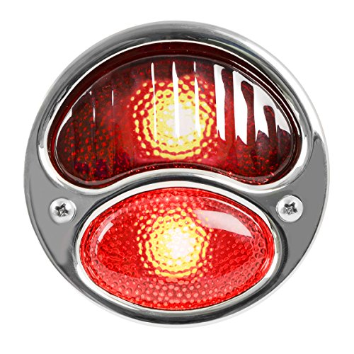KNS Accessories KA0035 12V Stainless Steel Duolamp Tail Light for Ford Model A with Red Glass Lens ()