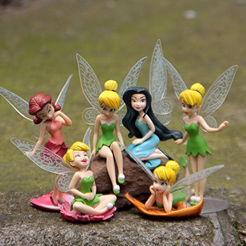 RusToyShop 6 psc Disney Fairies Fairy 3.7 inch Mini Figures Toys Party Favor Birthday Cupcake Toppers Cartoon Series to Children's Holiday Miniature, Surprise Baby, Party Favor Figurine Birthday by RusToyShop