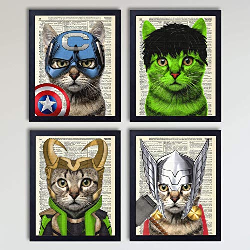 The Avengers Superhero Cat 4 Piece Set, Captain America, Thor, Loki and Hulk Cat Art Prints, Kids Bedroom Decor on Vintage Dictionary Book Pages Children's Room Art 8x10 inches each, Unframed -