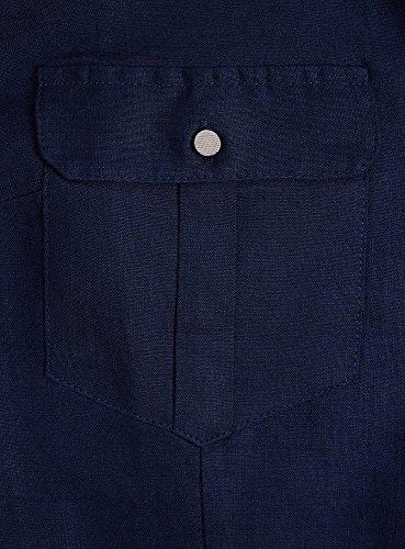 Poches Bleu Lin oodji Femme avec Collection 7900n en Blouse xxO1vY