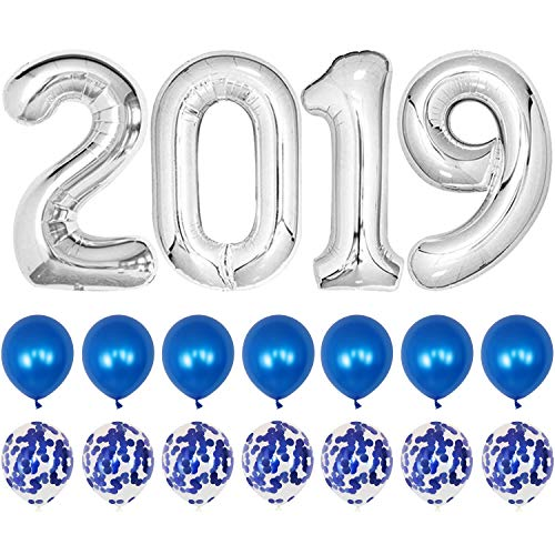2019 Balloons Blue Confetti Balloon - Blue Graduation Party Supplies 2019 | Graduation Decorations Blue | Large 2019 Balloons with 7 Blue Confetti Balloons and 7 Blue Latex Balloons | Blue and White