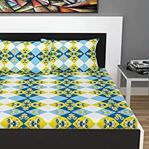 Divine Casa 100% Cotton 144 TC Abstract Double Bedsheet Cotton with 2 Pillow Covers – Orange