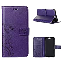 """HTC One A9 Case, LANDEE Advanced Pressed Flowers Series The Unique Design PU Leather Wallet Stand Flip Case for HTC One A9 (5.0"""") (HTCA9-P-0403)"""