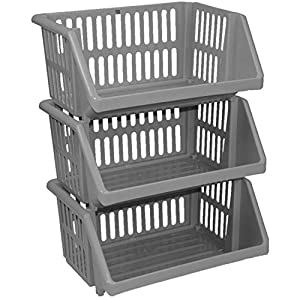 3 Tier Silver Plastic Stacking Vegetable Food Kitchen Storage Rack Stand  Basket By 7th AVE
