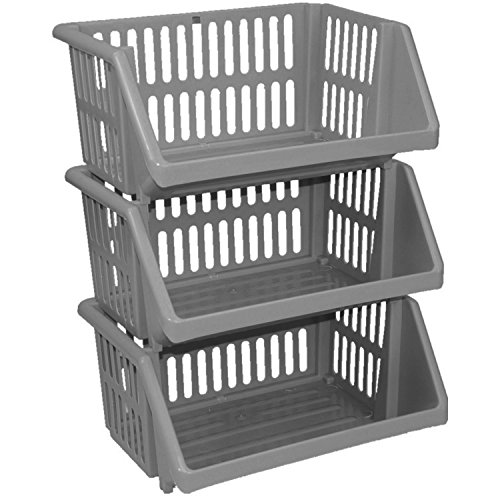 Cream Large 3 Tier Stacking Baskets Storage Veg Rack Plastic Stackers 35cm