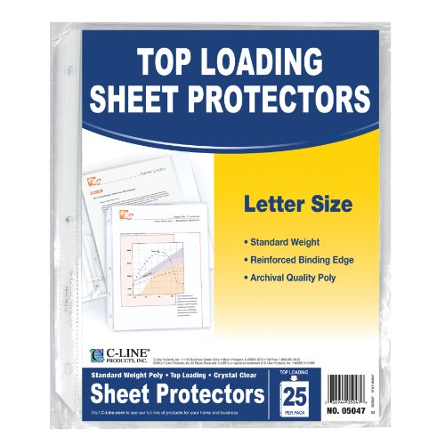 C-Line Top Loading Standard Weight Poly Sheet Protectors, Clear, 8.5 x 11 Inches, 25 per Pack (05047) Cline Photo