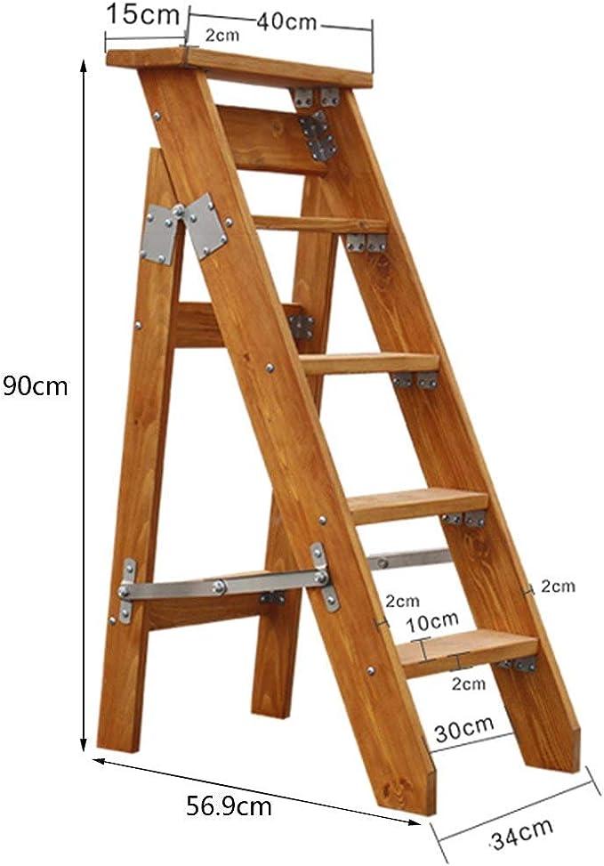 QQXX 5 Pasos Plegable Escalera Unilateral Espiga Plegable Simple Recta Madera Maciza Loft Ascender Escalera Taburete Soporte de Flores (Color: A): Amazon.es: Hogar