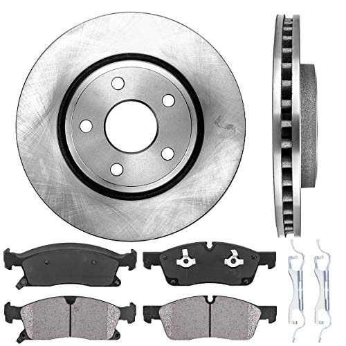 REAR 330.03 mm Premium OE 5 Lug 4 CRK14053 FRONT 330 mm Quiet Low Dust Ceramic Brake Pads 8 Rotors + Clips