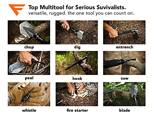 FiveJoy Military Folding Shovel Multitool (C1) Tactical Entrenching Tool w/Case for Camping Backpacking Hiking Car Snow Portable, Multifunctional, Compact Emergency Kit, Heavy Duty Survival Gear