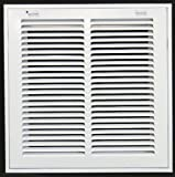 """12"""" X 12 Steel Return Air Filter Grille for 1"""" Filter - Removable Face/Door - HVAC DUCT COVER - Flat Stamped Face - White"""