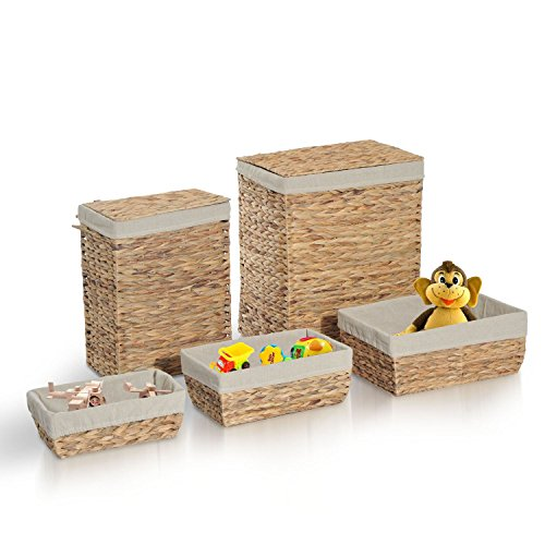 5pc Storage Baskets Box Set Household Home Organizer Bathroom Laundry Hamper by unbrand