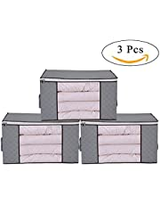 3 Piece Bamboo Charcoal Clothing Organizer Bags, Foldable Storage Zipper Bag Large Durable Closet Storage Boxes Case Container for Dresses Quilt Season Items Storage (Grey)
