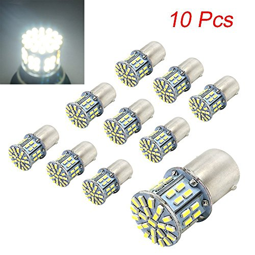 Efoxcity 12V 1156 10 Pcs Bright 1156 1141 1003 50-SMD White LED Bulbs For Car Rear Turn Signal lights Interior RV Camper (Car Turn Signals)