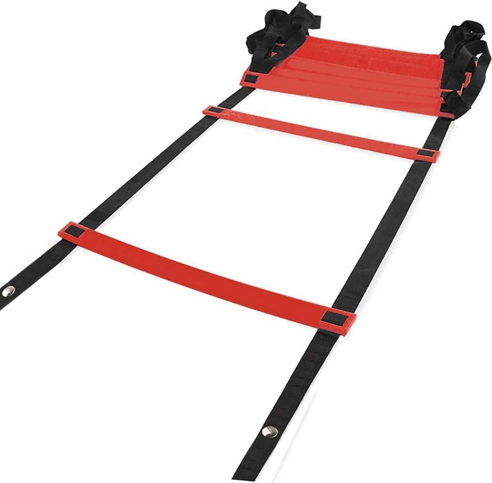 Escalera de velocidad Escalera de Agilidad de Fútbol Ajustable Roja, Entrenamiento Ejercicios Rápidos de Agilidad para el Trabajo Conjunto de Entrenamiento de Escalera de Coordinación de Ayuda con Bol: Amazon.es: Hogar