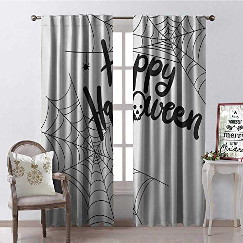 Hengshu Happy Halloween Spider Web Waterproof Window Curtain Decorative Curtains for Living Room W96 x L84 -