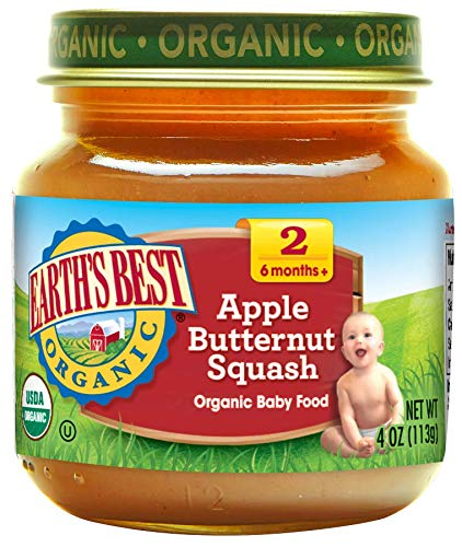 Earth's Best Organic Stage 2 Baby Food, Apple and Butternut Squash, 4 oz. Jar (Pack of 12) For Sale
