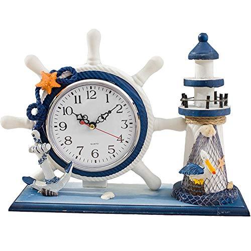 HONGGE Mantel Clocks,Creative Clock Living Room Desktop Quartz Clock Lighthouse Ocean Grandfather Clock Mute Sweep Seconds Clock (Lighthouse Brass Clock)