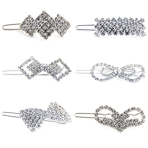 Yeshan Fashion Girls Small Crystal Hairpins Barrettes Rhinestone Elegant Flower Hair Snap Clip,Pack of 6