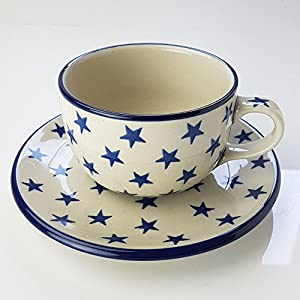 Polish Pottery Teacup and Saucer – Morning Star – 200ml
