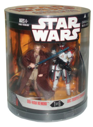 Star Wars Year 2007 Exclusive Order 66 Canister Series 2 (#1 of 6) 2 Pack 4 Inch Tall Action Figure : OBI-WAN KENOBI with Blue Lightsaber and ARC TROOPER COMMANDER with Blaster Rifle