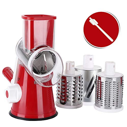 Nut Grater - Rotary Cheese Grater Shredder Chopper Round Tumbling Box Mandoline Slicer Nut Grinder for Vegetable,  Hash Brown, Potato with 3 Sharp Drums Blades and Strong Suction Base by Valuetool